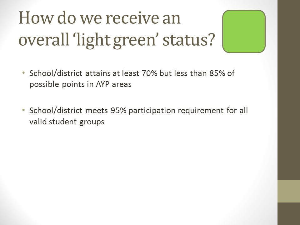 How do we receive an overall 'light green' status.