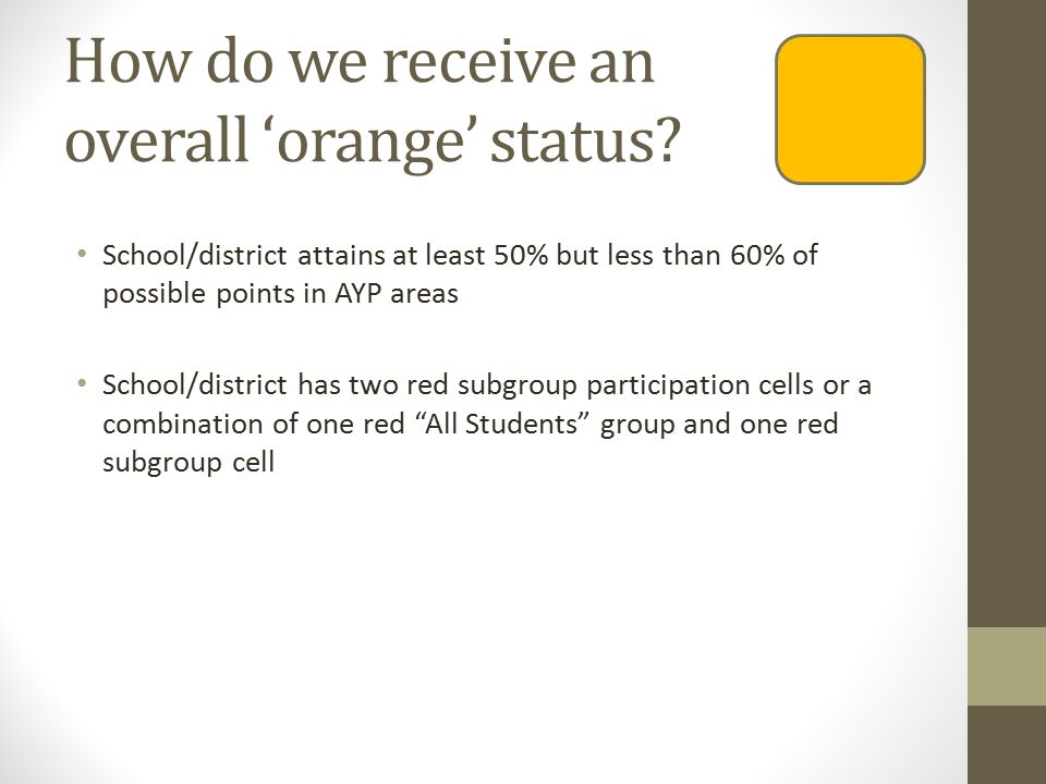 How do we receive an overall 'orange' status.