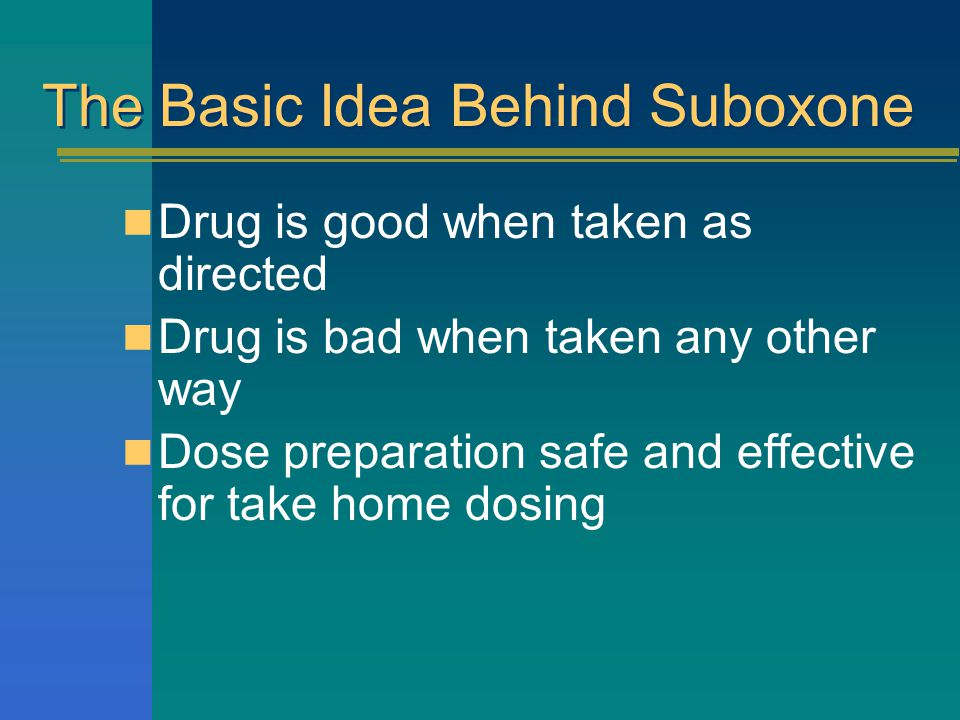 The Basic Idea Behind Suboxone Drug is good when taken as directed Drug is bad when taken any other way Dose preparation safe and effective for take home dosing