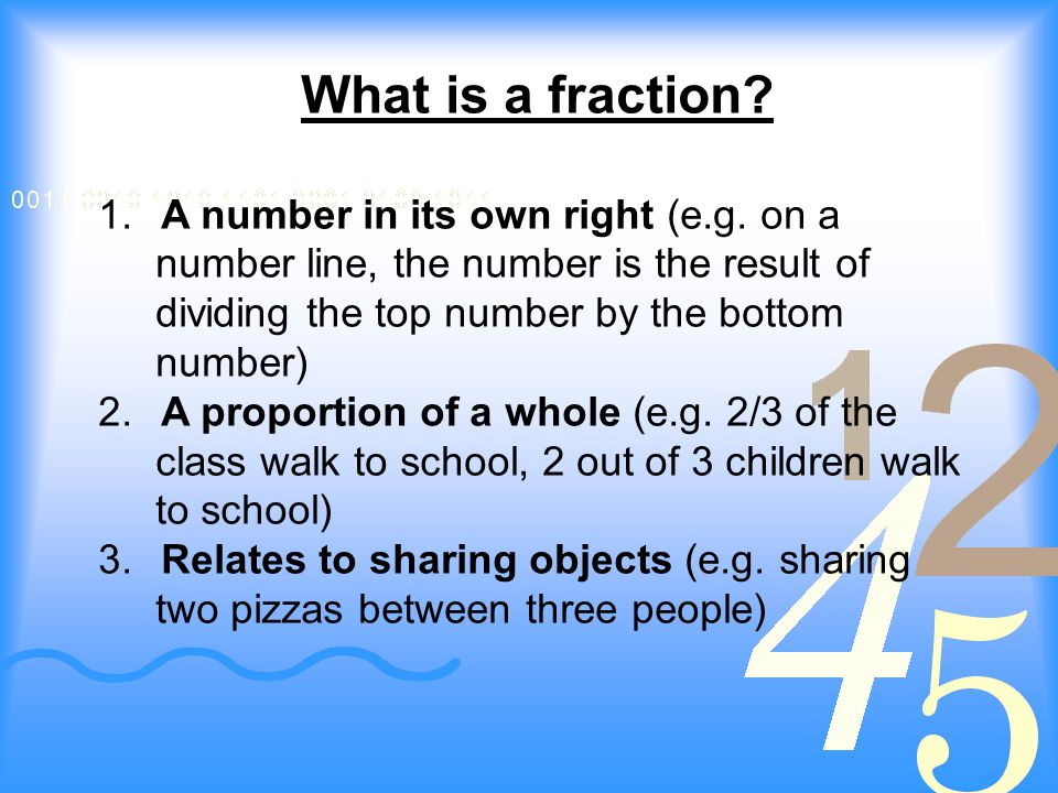 What is a fraction. 1. A number in its own right (e.g.