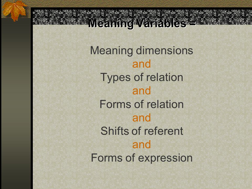 Meaning Variables = Meaning Variables = Meaning dimensions and Types of relation and Forms of relation and Shifts of referent and Forms of expression