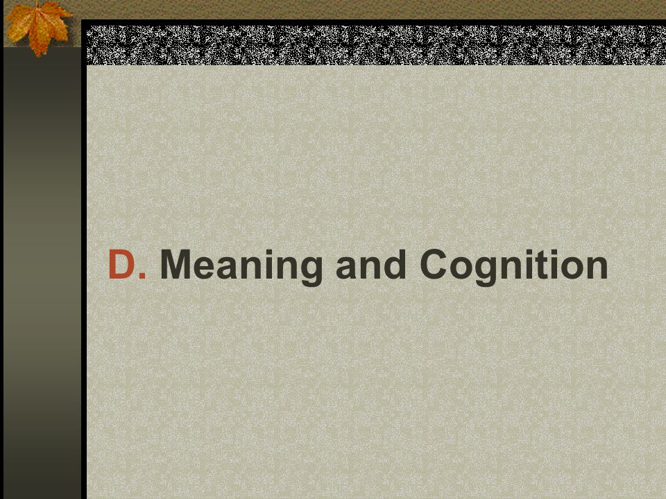 D. Meaning and Cognition