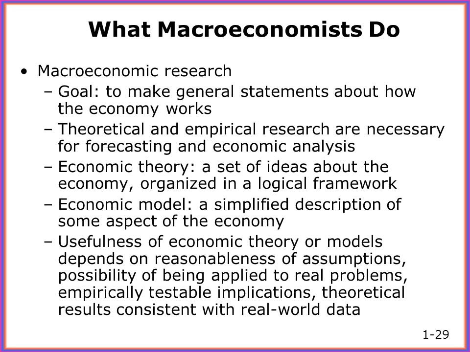 What Macroeconomists Do Macroeconomic research –Goal: to make general statements about how the economy works –Theoretical and empirical research are n