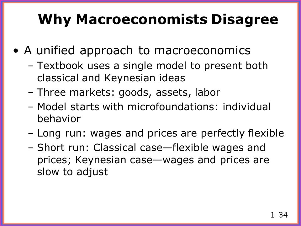 Why Macroeconomists Disagree A unified approach to macroeconomics –Textbook uses a single model to present both classical and Keynesian ideas –Three m