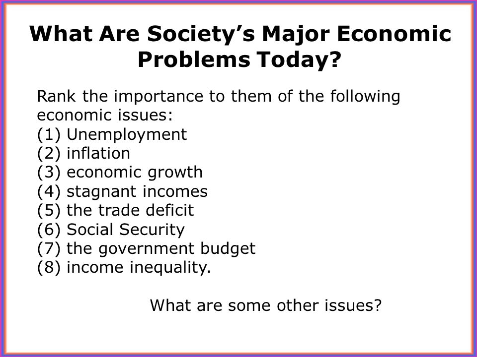 What Are Society's Major Economic Problems Today? Rank the importance to them of the following economic issues: (1) Unemployment (2) inflation (3) eco