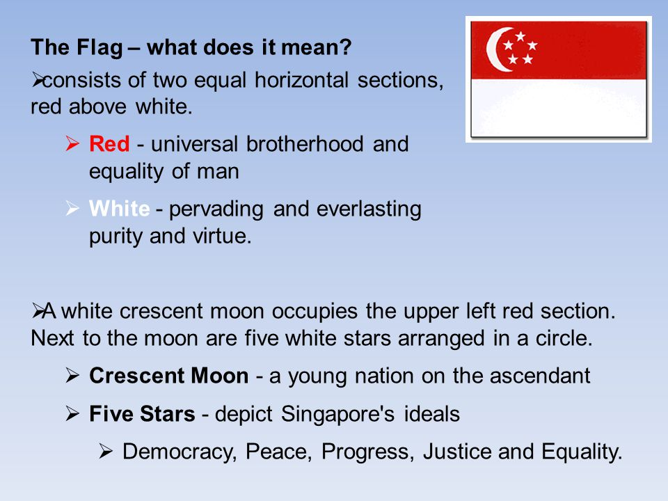 The Flag – what does it mean.  consists of two equal horizontal sections, red above white.