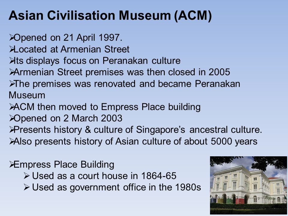 Asian Civilisation Museum (ACM)  Opened on 21 April 1997.