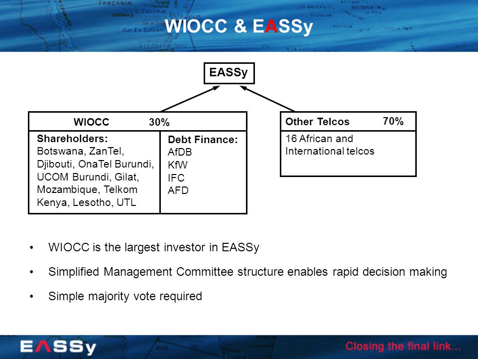 WIOCC & EASSy WIOCC is the largest investor in EASSy Simplified Management Committee structure enables rapid decision making Simple majority vote required Shareholders: Botswana, ZanTel, Djibouti, OnaTel Burundi, UCOM Burundi, Gilat, Mozambique, Telkom Kenya, Lesotho, UTL 16 African and International telcos 30% 70% EASSy WIOCC Other Telcos Debt Finance: AfDB KfW IFC AFD