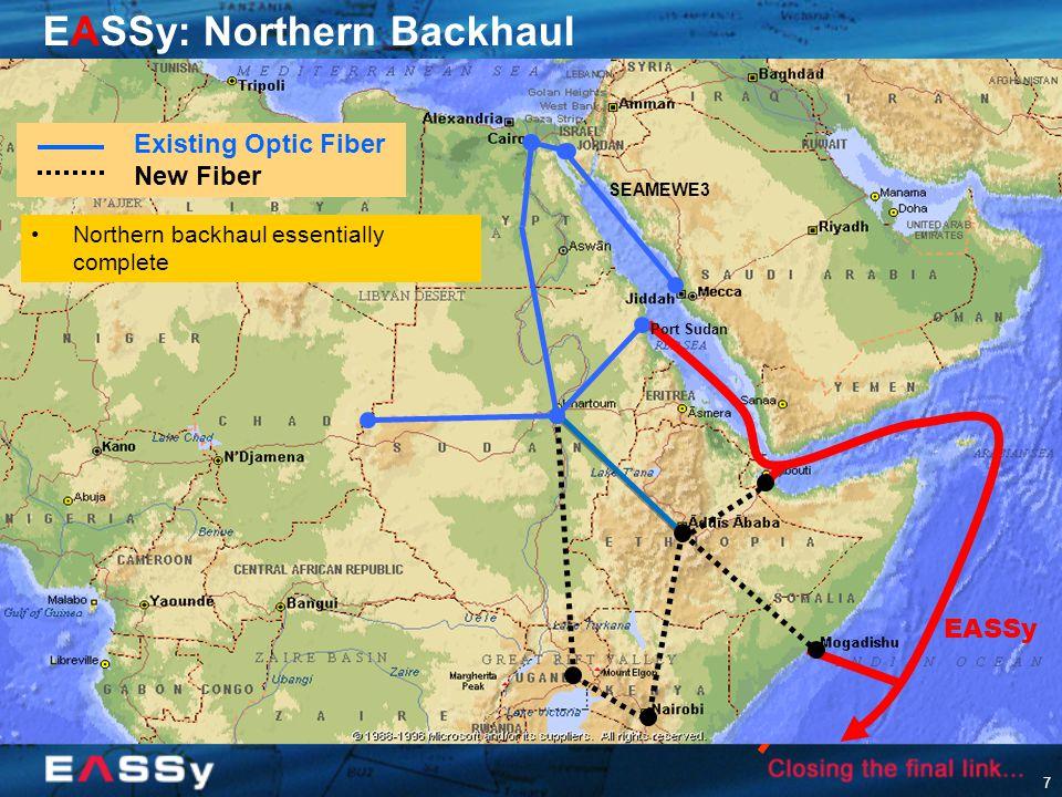 7 SEAMEWE3 EASSy: Northern Backhaul Existing Optic Fiber New Fiber Northern backhaul essentially complete Port Sudan EASSy