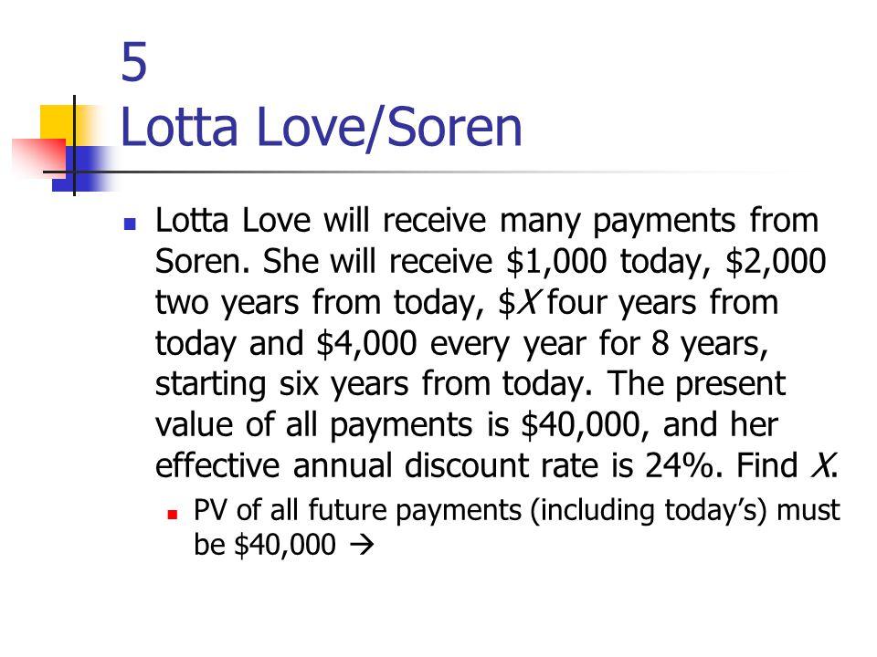 5 Lotta Love/Soren Lotta Love will receive many payments from Soren.