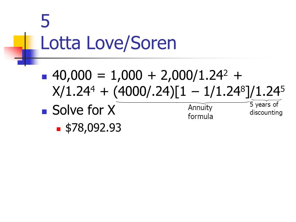 5 Lotta Love/Soren 40,000 = 1,000 + 2,000/1.24 2 + X/1.24 4 + (4000/.24)[1 – 1/1.24 8 ]/1.24 5 Solve for X $78,092.93 Annuity formula 5 years of discounting
