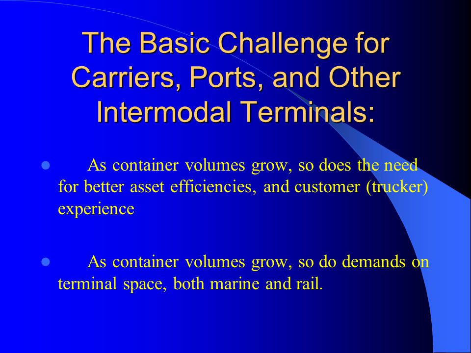 The Intermodal System depends upon a relatively simply piece of equipment to move a container between an intermodal terminal (rail or ocean) and an origin or destination: Intermodal Chassis
