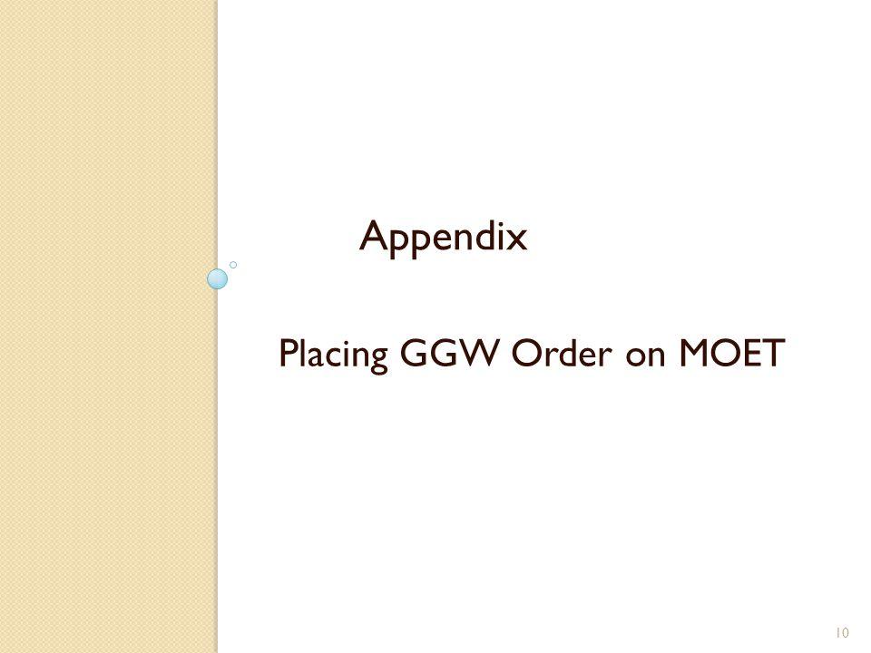Placing GGW Order on MOET 10 Appendix