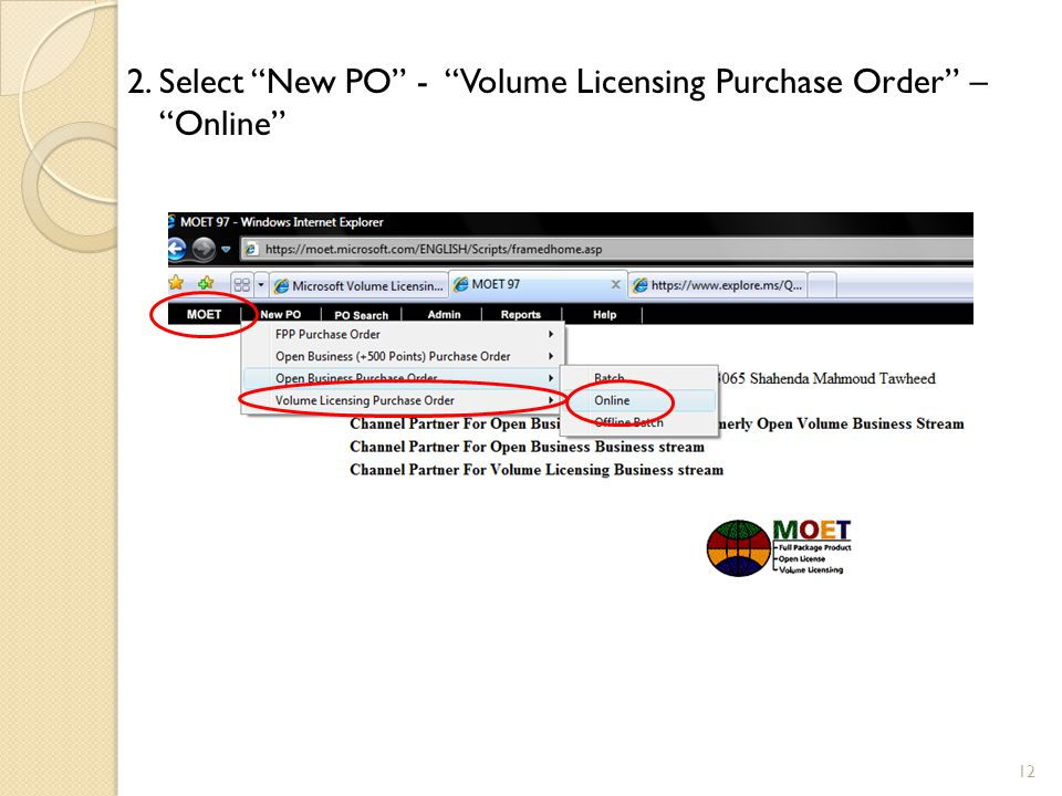 """2.Select """"New PO"""" - """"Volume Licensing Purchase Order"""" – """"Online"""" 12"""