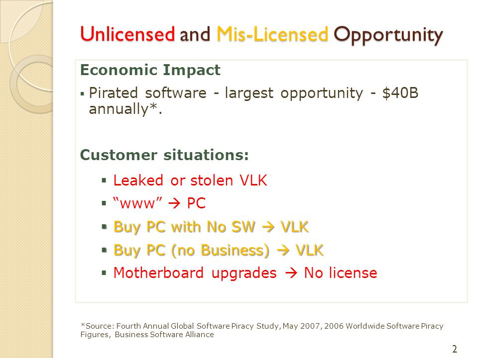 """Economic Impact  Pirated software - largest opportunity - $40B annually*. Customer situations:  Leaked or stolen VLK  """"www""""  PC  Buy PC with No S"""