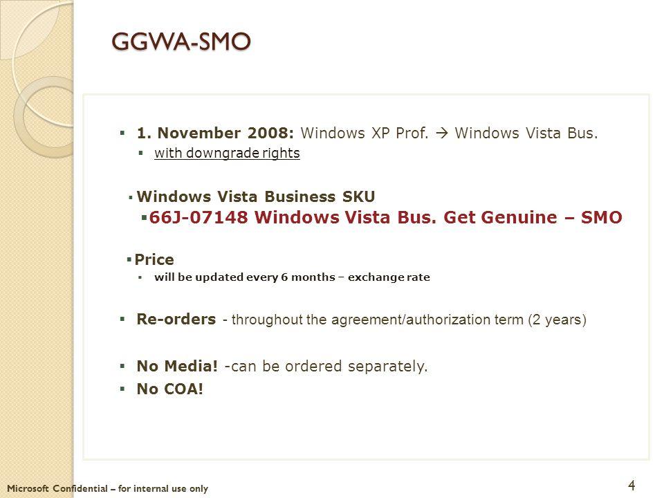 GGWA-SMO  1. November 2008: Windows XP Prof.  Windows Vista Bus.  with downgrade rights  Windows Vista Business SKU  66J-07148 Windows Vista Bus.