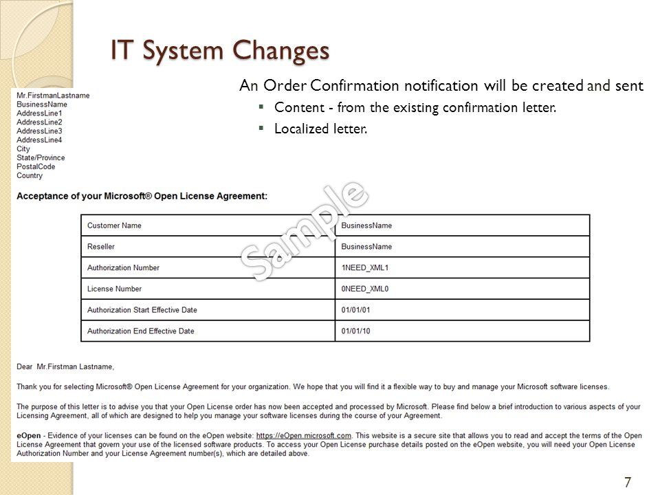 IT System Changes An Order Confirmation notification will be created and sent  Content - from the existing confirmation letter.  Localized letter. 7