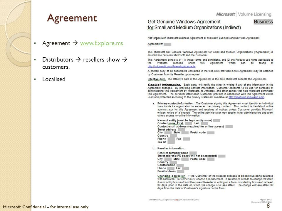 Microsoft Confidential – for internal use only Agreement  Agreement  www.Explore.mswww.Explore.ms  Distributors  resellers show  customers.  Loc