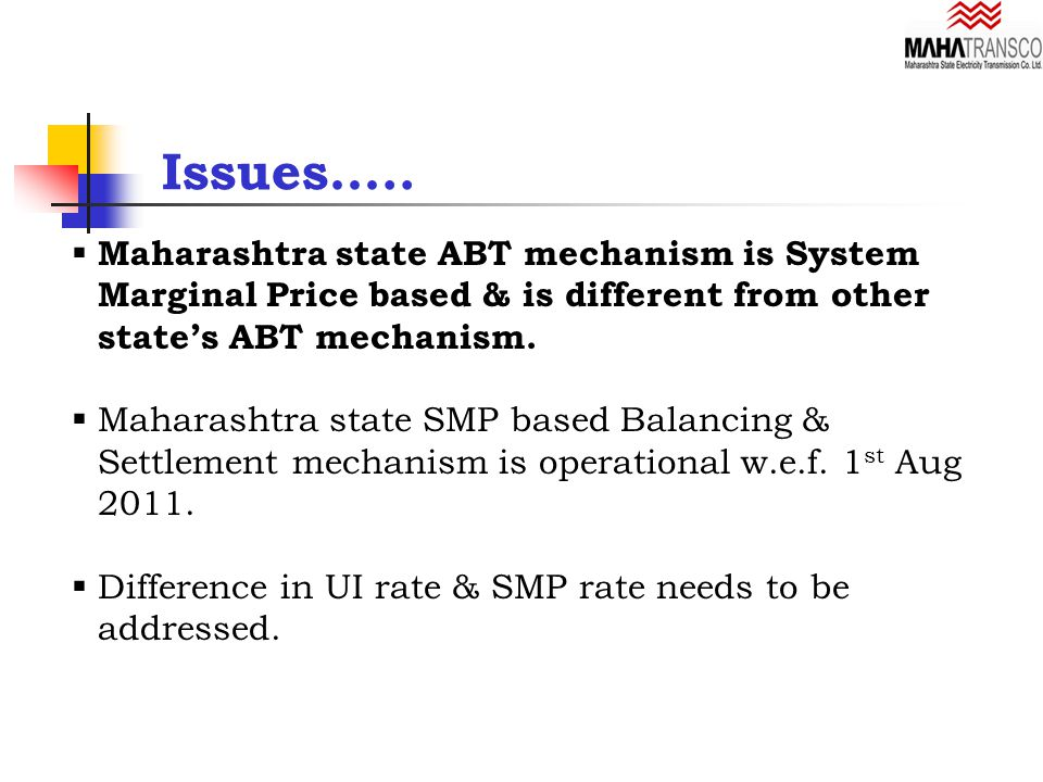  Maharashtra state ABT mechanism is System Marginal Price based & is different from other state's ABT mechanism.