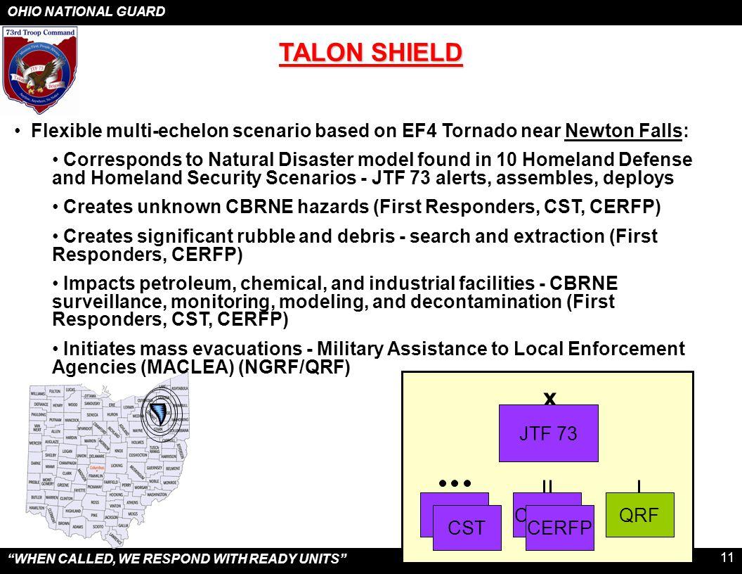 "OHIO NATIONAL GUARD ""WHEN CALLED, WE RESPOND WITH READY UNITS"" 11 TALON SHIELD Flexible multi-echelon scenario based on EF4 Tornado near Newton Falls:"