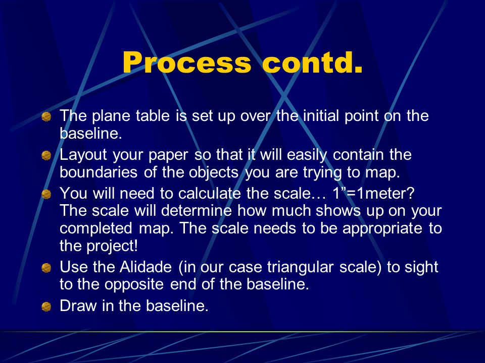 Process contd. The plane table is set up over the initial point on the baseline.
