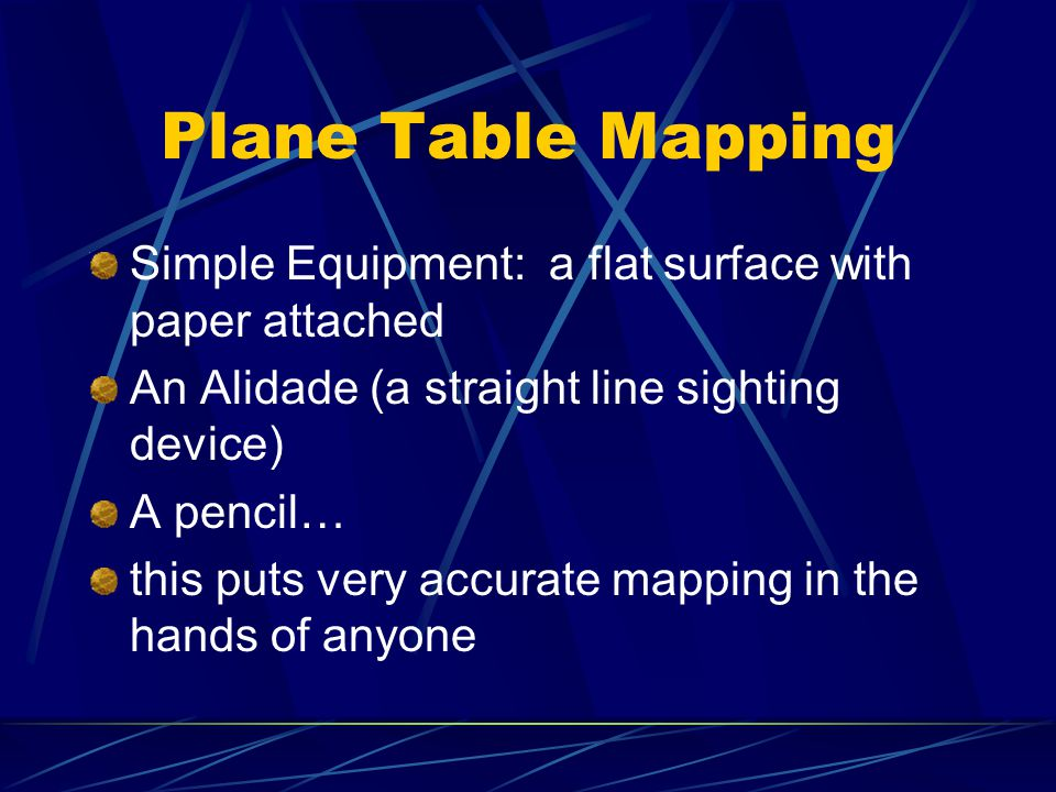 Plane Table Mapping Simple Equipment: a flat surface with paper attached An Alidade (a straight line sighting device) A pencil… this puts very accurate mapping in the hands of anyone