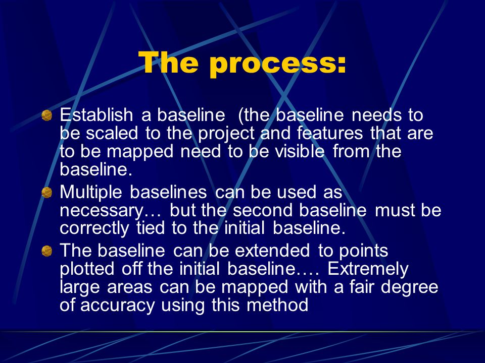 The process: Establish a baseline (the baseline needs to be scaled to the project and features that are to be mapped need to be visible from the baseline.