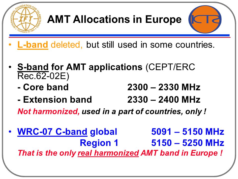 AMT bands over 15GHz Requirements will further increase; WRC´07 allocations satisfying medium term needs, only Lessons learned from WRC´07: from identifying a specific need to a WRC decision one decade min.