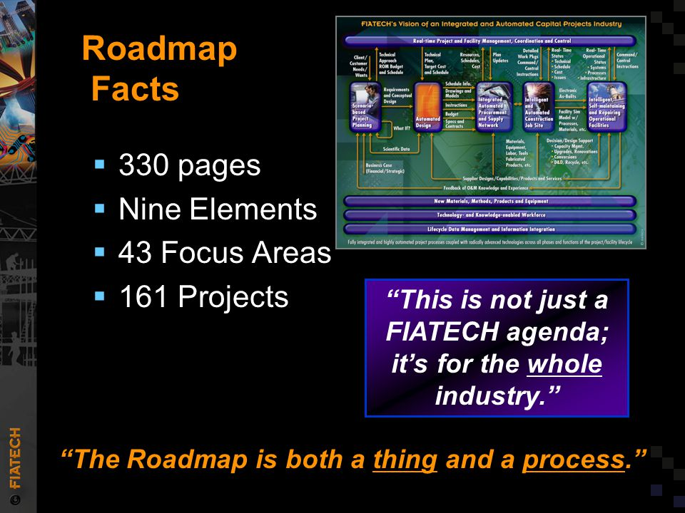 Roadmap Facts  330 pages  Nine Elements  43 Focus Areas  161 Projects The Roadmap is both a thing and a process. This is not just a FIATECH agenda; it's for the whole industry.
