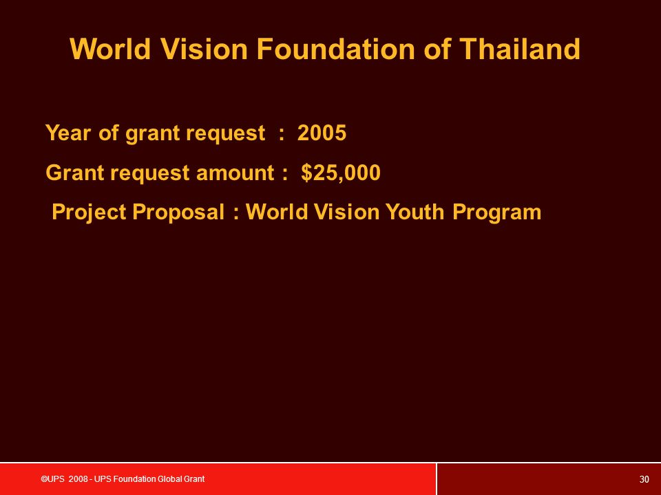30 ©UPS 2008 - UPS Foundation Global Grant World Vision Foundation of Thailand Year of grant request : 2005 Grant request amount : $25,000 Project Proposal : World Vision Youth Program