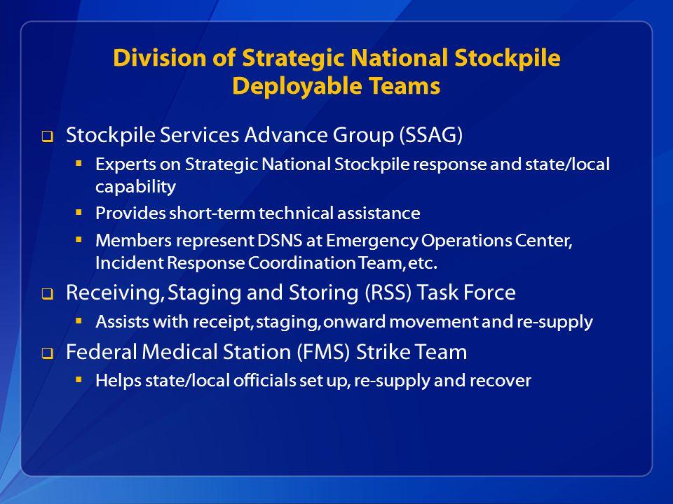 Division of Strategic National Stockpile Deployable Teams  Stockpile Services Advance Group (SSAG)  Experts on Strategic National Stockpile response