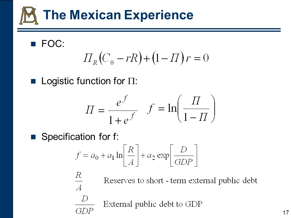 18 The Mexican Experience Optimal Reserves to Actual Reserves Ratio* (Different Levels for Cost of Crises as Percentage of GDP) * The opportunity cost of reserves (r) was assumed at 5%.