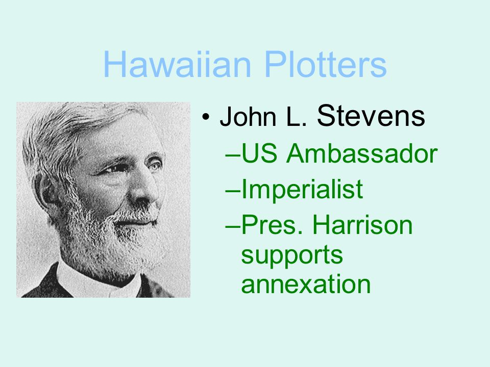Hawaiian Plotters John L. Stevens –US Ambassador –Imperialist –Pres. Harrison supports annexation