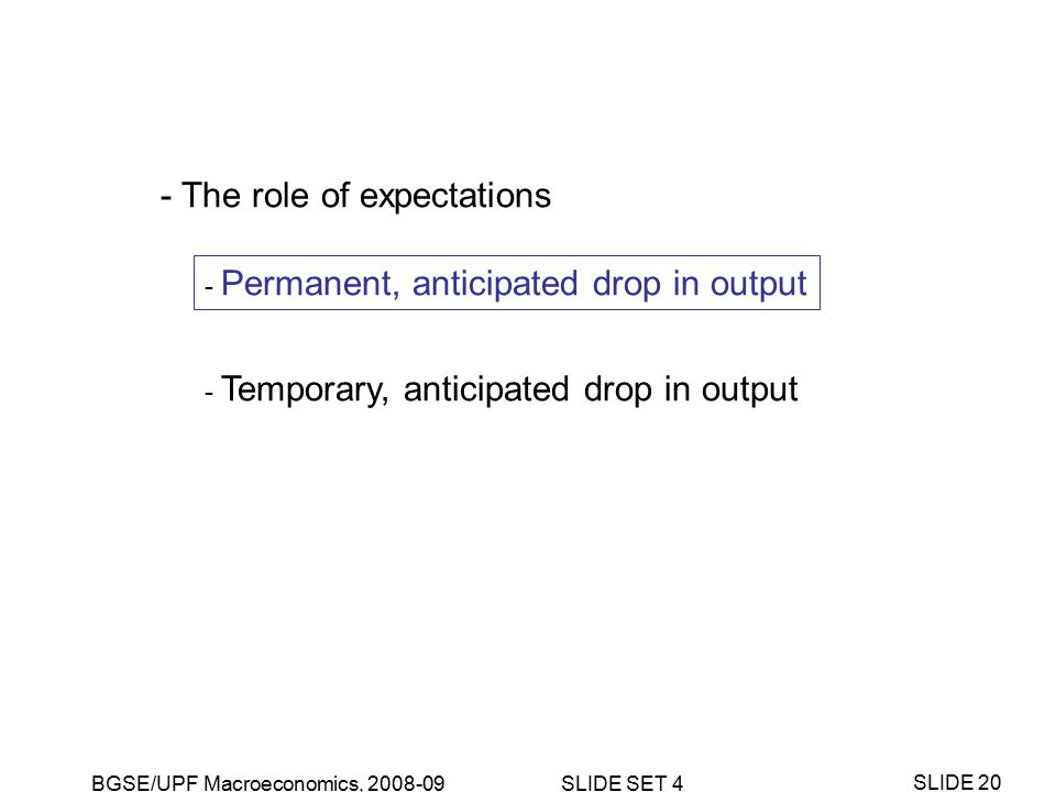 BGSE/UPF Macroeconomics, 2008-09 SLIDE SET 4 SLIDE 20 - The role of expectations - Permanent, anticipated drop in output - Temporary, anticipated drop in output