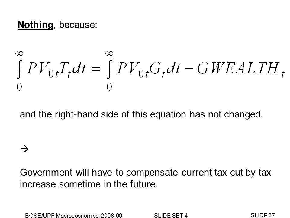 BGSE/UPF Macroeconomics, 2008-09 SLIDE SET 4 SLIDE 37 Nothing, because: and the right-hand side of this equation has not changed.
