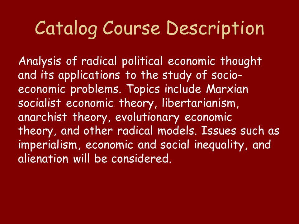 Radical Political Economy and Heterodox Economic Theory