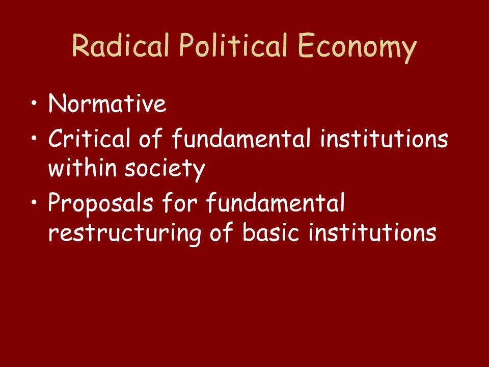 Radical Political Economy Participatory Economics Market Socialism Marxism Anarchism –Syndicalism –Mutualism –Federated Communities –Anarcho-Capitalism