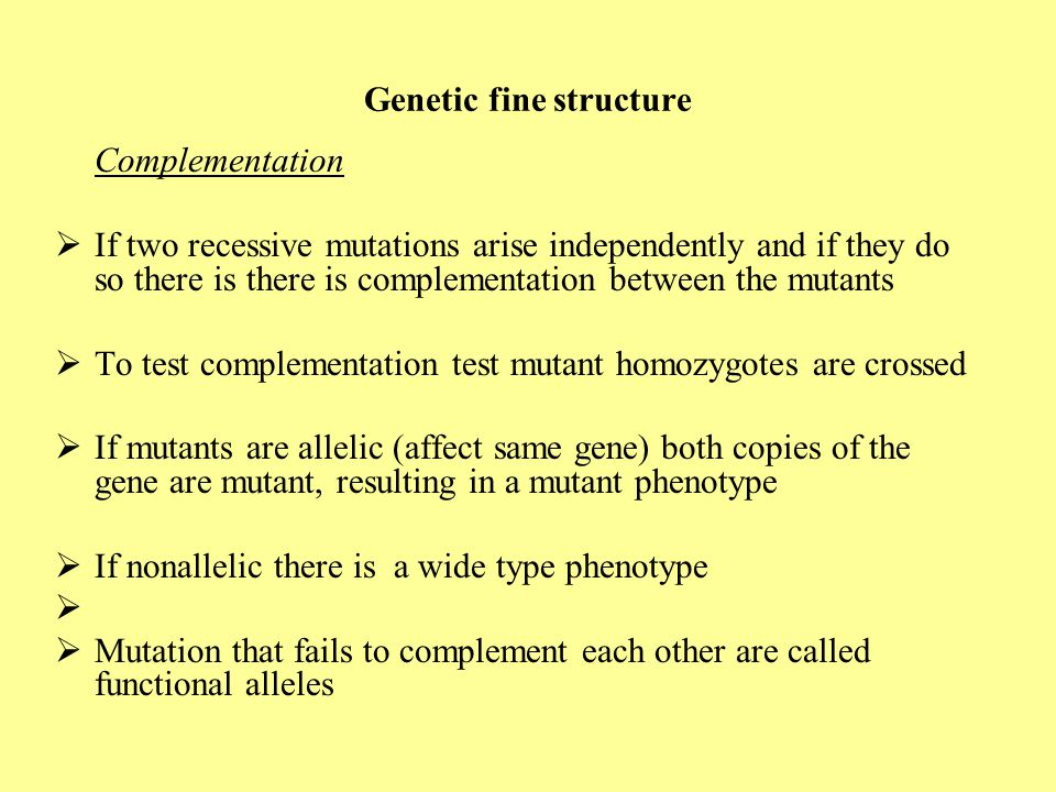 Genetic fine structure Complementation  If two recessive mutations arise independently and if they do so there is there is complementation between th