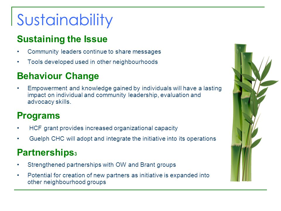 Sustainability Sustaining the Issue Community leaders continue to share messages Tools developed used in other neighbourhoods Behaviour Change Empowerment and knowledge gained by individuals will have a lasting impact on individual and community leadership, evaluation and advocacy skills.