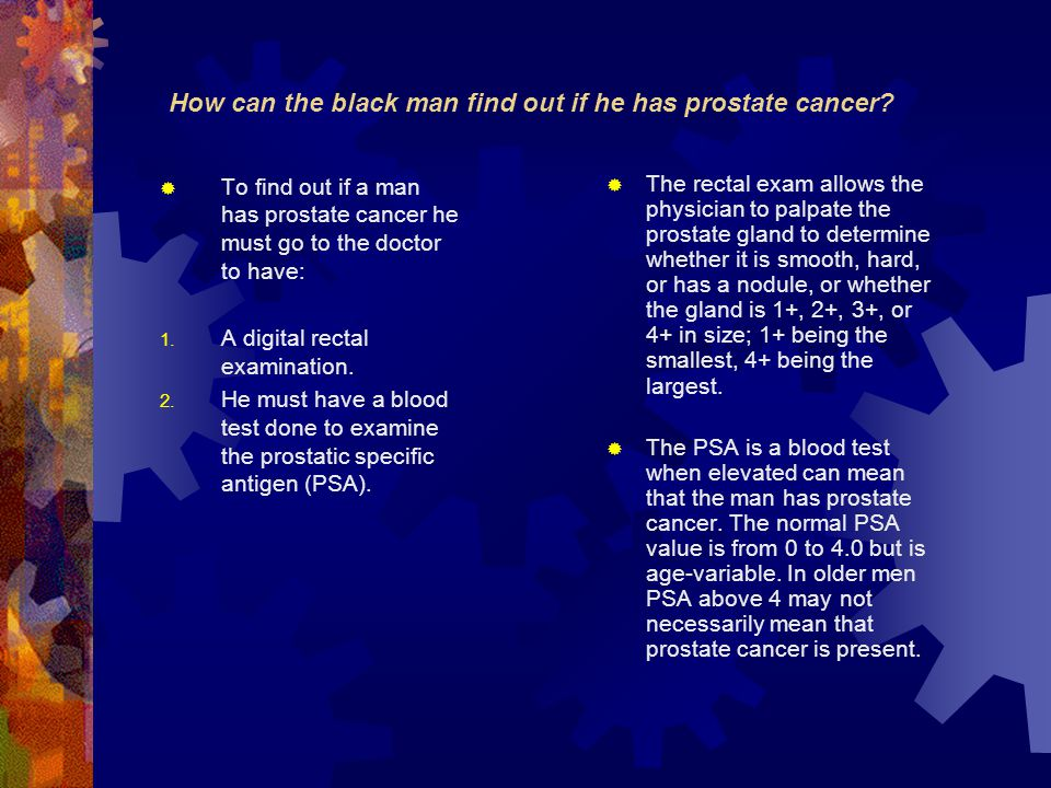 How can the black man find out if he has prostate cancer.