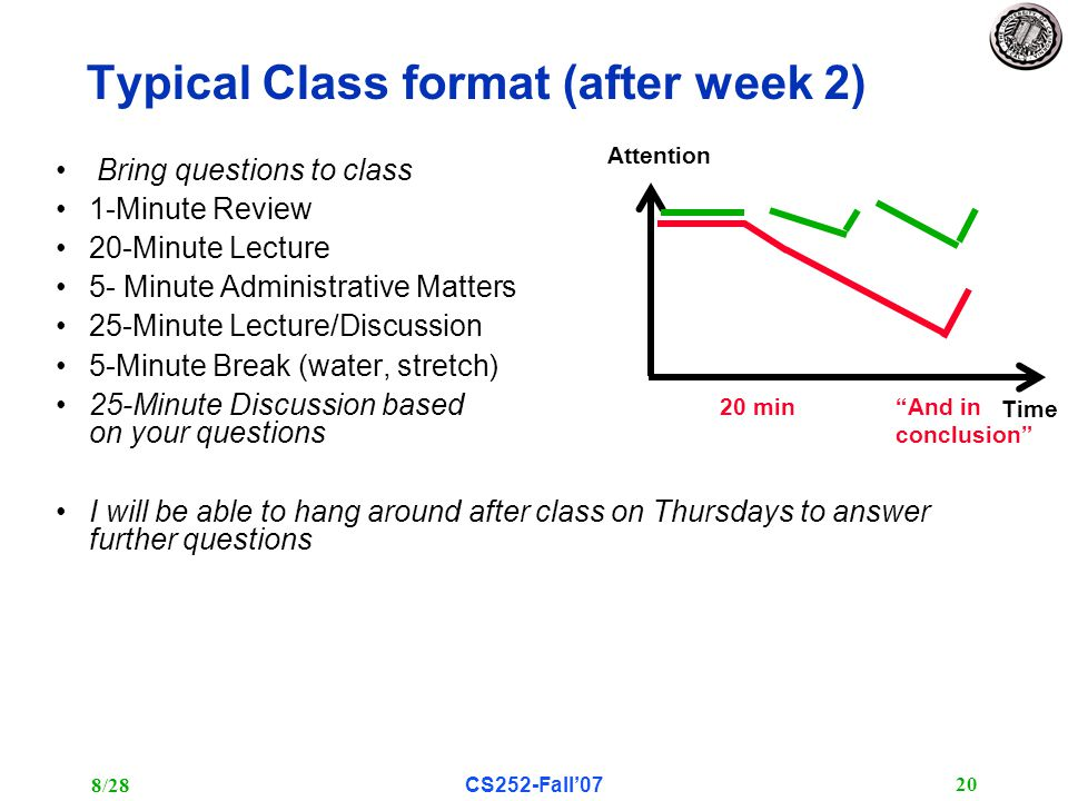 8/28CS252-Fall'07 20 Typical Class format (after week 2) Bring questions to class 1-Minute Review 20-Minute Lecture 5- Minute Administrative Matters 25-Minute Lecture/Discussion 5-Minute Break (water, stretch) 25-Minute Discussion based on your questions I will be able to hang around after class on Thursdays to answer further questions Time Attention 20 min And in conclusion