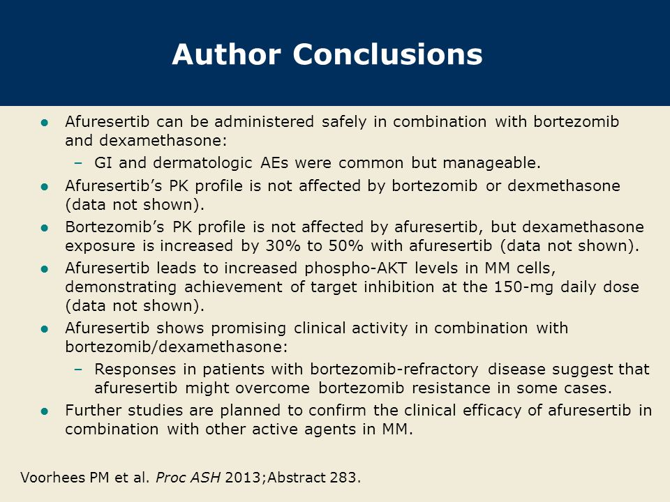 Investigator Commentary: Novel AKT Inhibitor Afuresertib in Combination with Bortezomib and Dexamethasone for Patients with R/R MM A strong rationale exists for why AKT may be important in the biology of MM, and single-agent activity has been reported with the AKT inhibitor afuresertib in MM (Proc ASH 2011;Abstract 1856).
