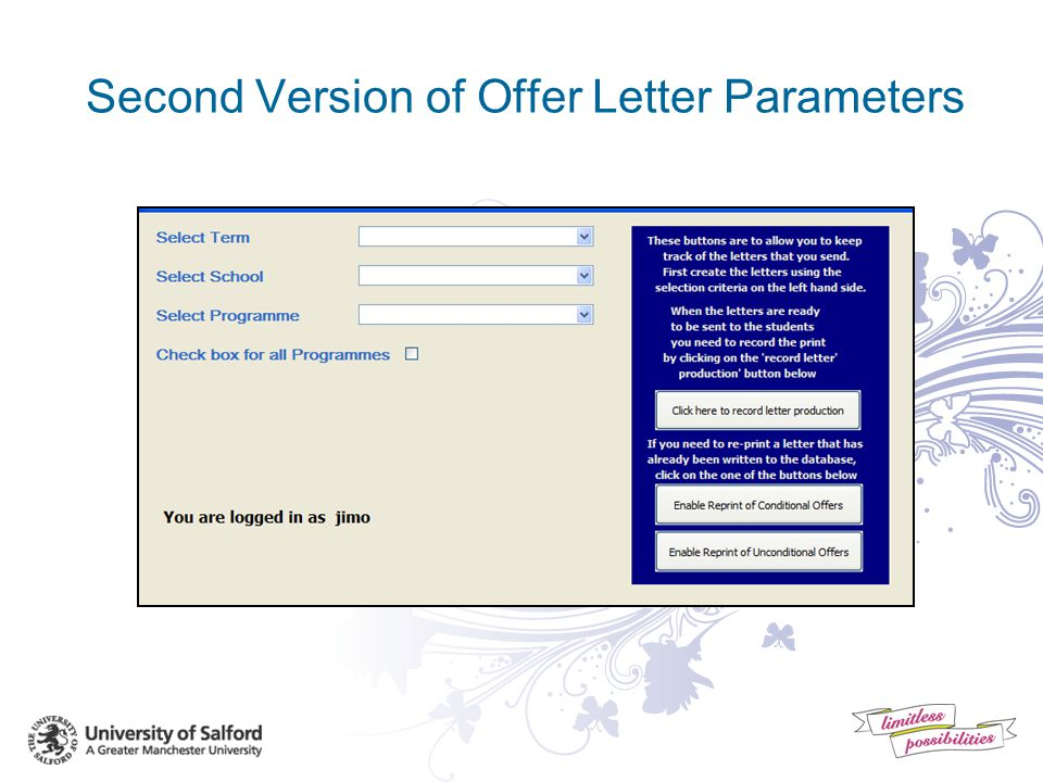 First Version of Offer Letter Parameters