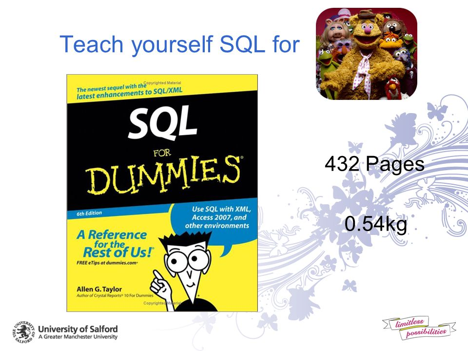 Teach yourself SQL for 368 Pages 0.66kg