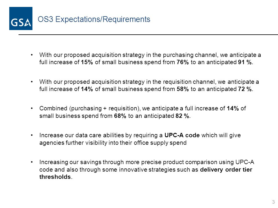 OS3 Expectations/Evolution 4 FSSI Office Supplies Solutions OS1 (2006-2010) OS2 (2010-2014) OS3 (2014-onward) Increased Agency Collaboration Enhanced Business Intelligence Purchasing Channel Dynamic Pricing Model  $35M in sales  Unknown Small Business utilization  Unknown savings  $750M in sales  76% Small Business utilization  $351M ($118M direct + $233M indirect) savings (through October FY14)  $2B+ in expected sales ($1.3B purchasing channel, $1B in requisition channel)  Increased SB opportunities; 82% utilization forecasted  Expected savings from increased competition, dynamic pricing, flexible contract terms, and lower operating costs
