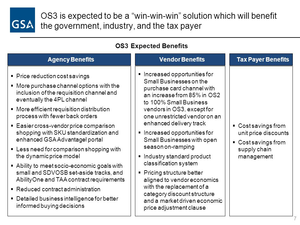 OS3 is expected to be a win-win-win solution which will benefit the government, industry, and the tax payer 7 OS3 Expected Benefits Agency Benefits  Price reduction cost savings  More purchase channel options with the inclusion of the requisition channel and eventually the 4PL channel  More efficient requisition distribution process with fewer back orders  Easier cross-vendor price comparison shopping with SKU standardization and enhanced GSA Advantage.