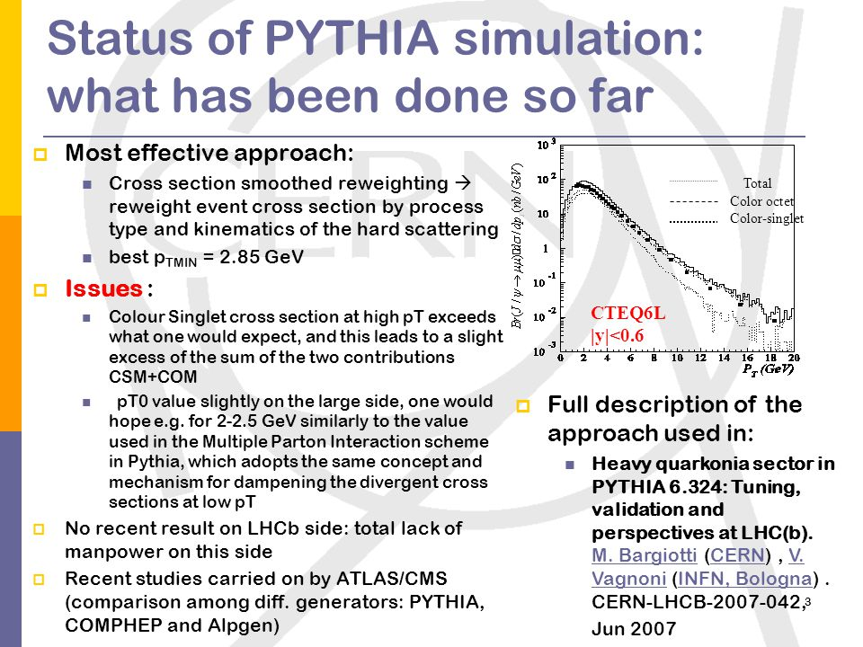3 Status of PYTHIA simulation: what has been done so far  Most effective approach: Cross section smoothed reweighting  reweight event cross section by process type and kinematics of the hard scattering best p TMIN = 2.85 GeV  Issues : Colour Singlet cross section at high pT exceeds what one would expect, and this leads to a slight excess of the sum of the two contributions CSM+COM pT0 value slightly on the large side, one would hope e.g.