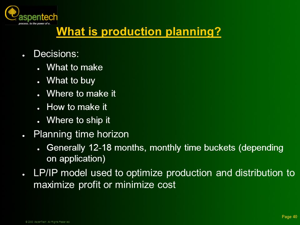 © 2000 AspenTech All Rights Reserved. Page 40 What is production planning.