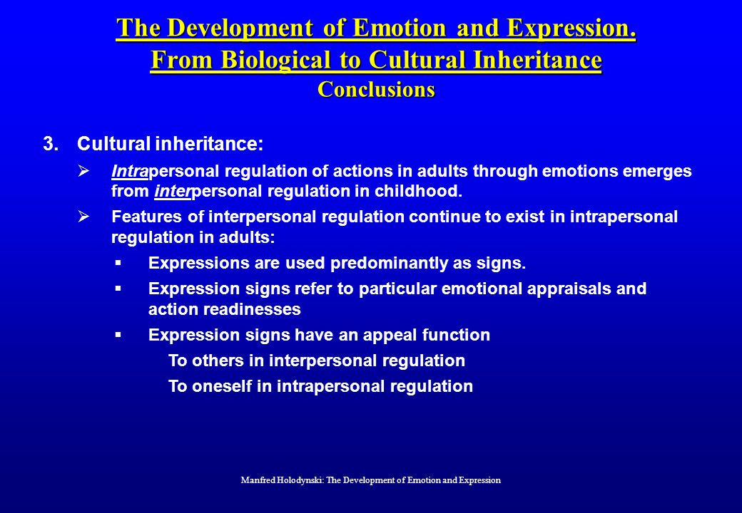 The Development of Emotion and Expression.