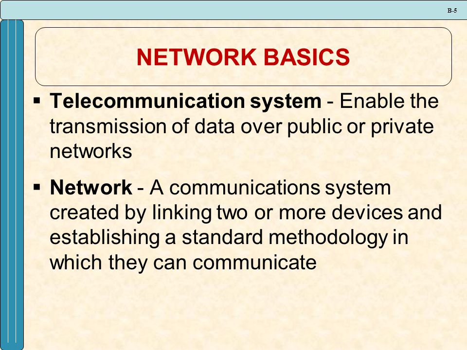 B-6 NETWORK BASICS  The three types of networks include: Local area network (LAN) Metropolitan area network (MAN) Wide area network (WAN)